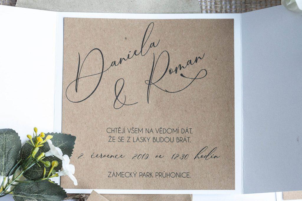 Čtvercové rustikální svatební oznámení otevírací