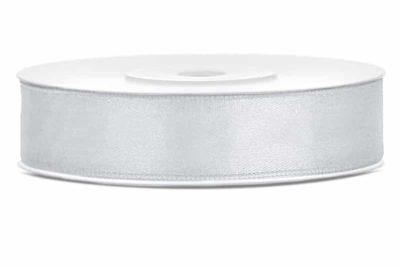 Saténová stuha jednolící 1,2 cm stříbrná
