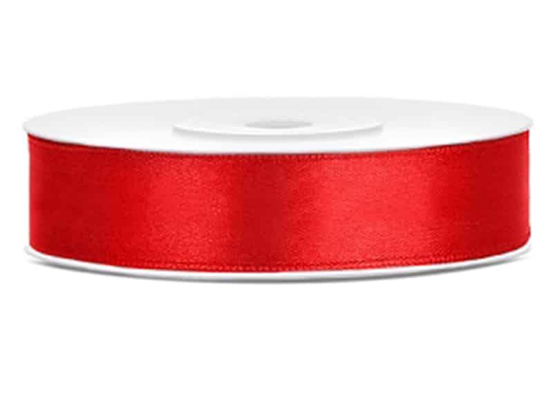 Saténová stuha jednolící 1,2 cm červená